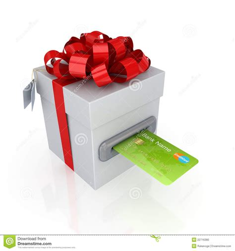 Credit Card Gift Box - green credit card and gift box stock photo image 22716380