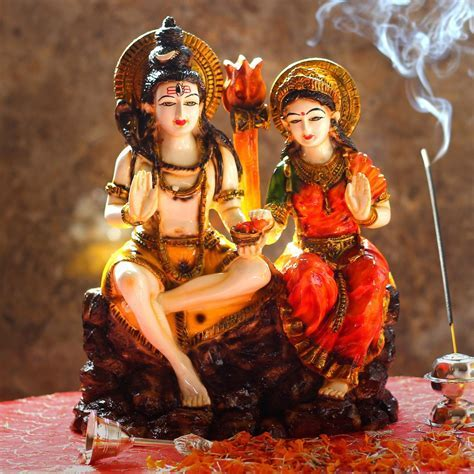 Send Lord Shiva Parvati Colorful Big Idol Online from