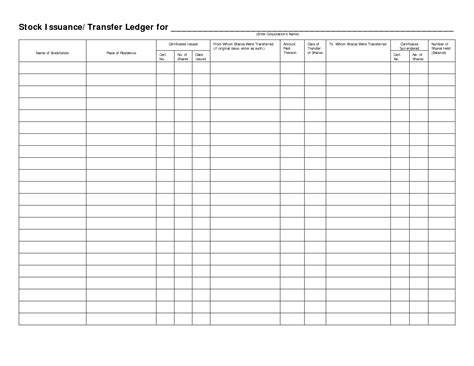 Stock Transfer Ledger Template stock transfer ledger template