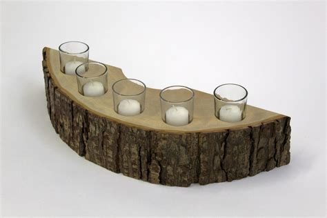 Rustic Candle Holders by Rustic Wooden Candle Holder 5 Candle Holder