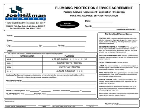 Plumbing Service Agreement Template by Joe Hillman Plumbers Service Agreement Invoice