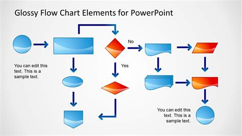 ppt flowchart template glossy flow chart template for powerpoint slidemodel