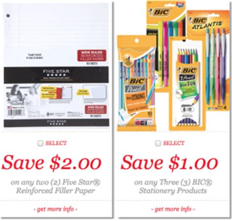 printable stationery coupons 1 3 bic stationary coupon more back to school coupons