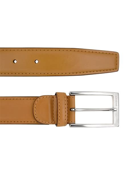 a testoni mens light brown deluxe calf leather belt in