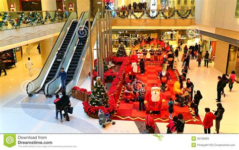 christmas decoration at shopping mall editorial stock