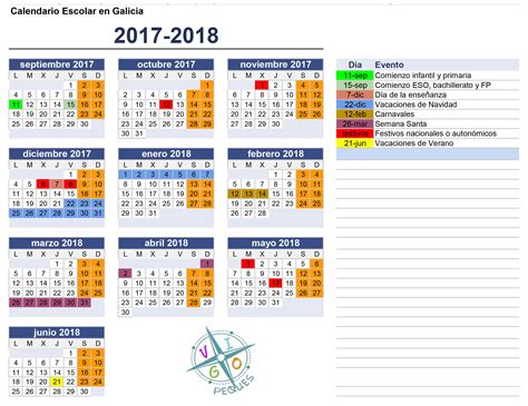 Calendario Escolar 2017 Portugal Calendario Escolar Galicia 2017 2018 Vigopeques