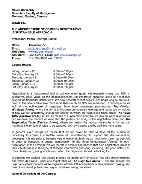 Mcgill Mba Program Requirements by Orgb 633 Negotiation Mcgill Mba Winter 2014