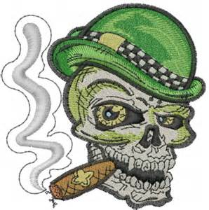 smoking skull embroidery design halloween embroidery