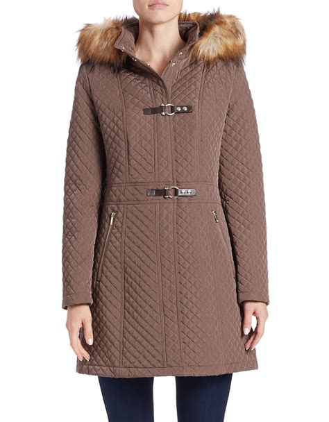 Quilted Fur Coat by Ivanka Faux Fur Trimmed Quilted Coat In Brown Lyst
