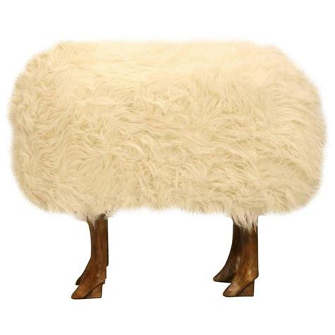 fur ottoman sheep ottoman with faux fur for sale at 1stdibs