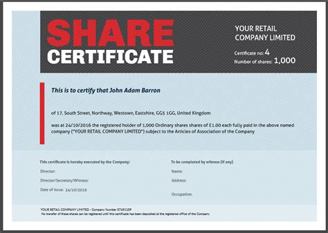 shareholder certificate template another inform direct product update october 2016
