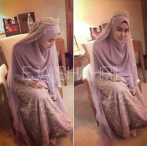 Syari Kynara Satin dusty purple islamic wedding concept by ejashahril