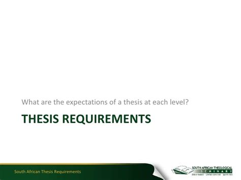 Mba South Africa Requirements by South Thesis Requirements