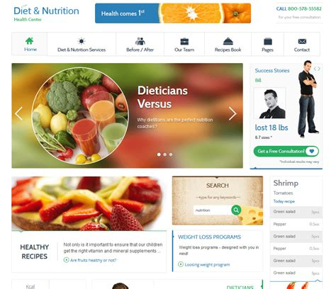 5 Wordpress Themes For Diet Websites Wp Solver Nutrition Website Templates