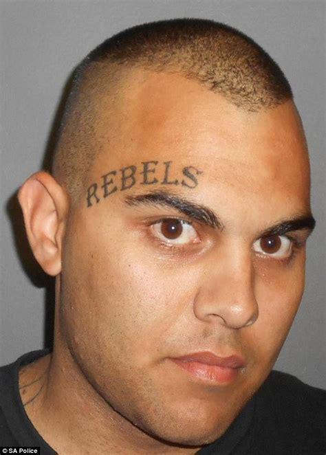tattoo eyebrows gang bikie bradley daniele with rebels tattooed on his
