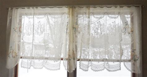 pair vintage victorian rose shabby cottage chic ivory lace curtain valances ebay