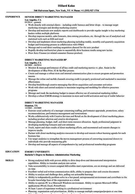 Marketing Manager Resume by Direct Marketing Manager Resume Sles Velvet