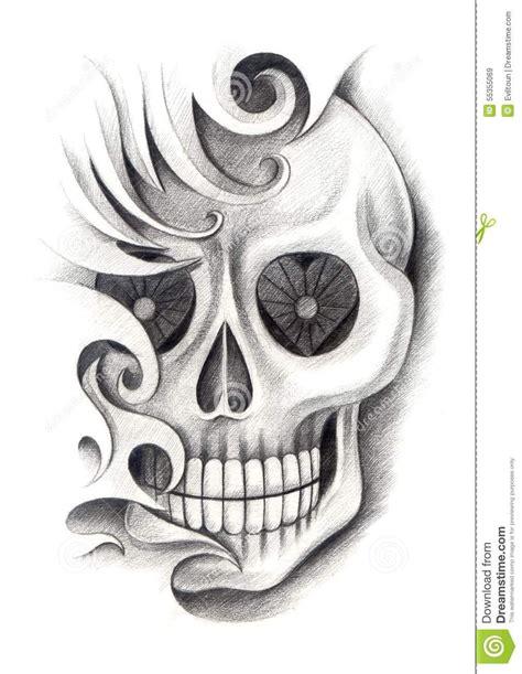 paper tattoo designs skull design mix tribal pencil