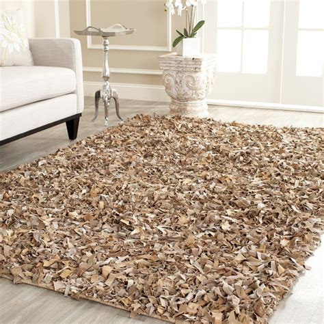 Safavieh Hand Knotted Dark Beige Leather Shag Area Rug Shag Rug