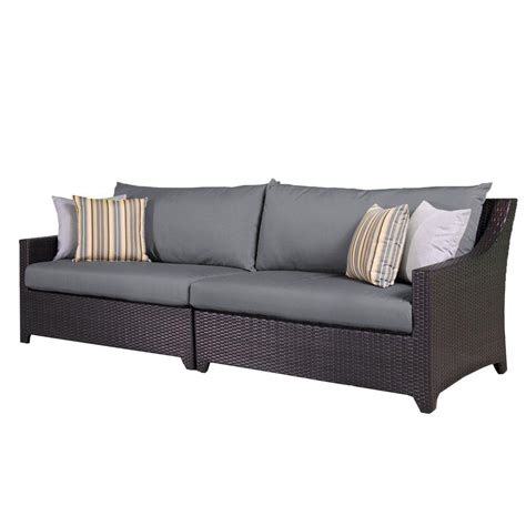 Shop Rst Brands Deco 9 Espresso Composite Material Rst Brands Deco Patio Sofa With Charcoal Grey Cushions Op