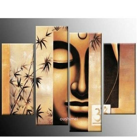 free shipping gold buddha oil painting wall art paintings handpainted 4pcs golden hues modern abstract wall art oil