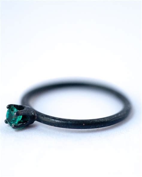 may birthstone ring emerald oxidized silver ring