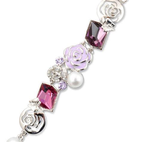 Flower With Swarovski athenafashion flower bracelet with swarovski element