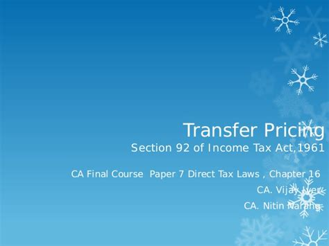 transfer pricing section overview of transfer pricing