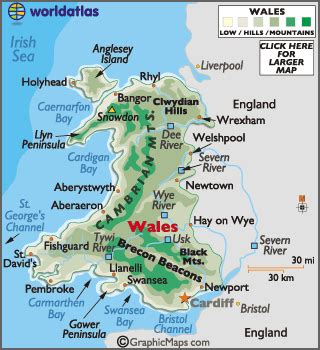 wales map / geography of wales / map of wales worldatlas.com