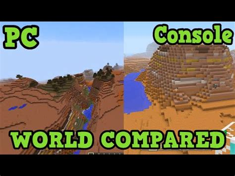 console and pc pc vs console minecraft world seed compared