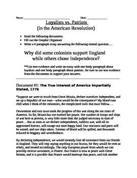 Loyalist Or Patriot Essay by American Revolution Loyalist Vs Patriot Documents Organizer And Essay Topic Text Evidence