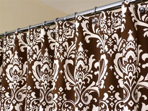 White Curtains With Brown Pattern Brown Shower Curtain In White And Brown Damask By Laricahome
