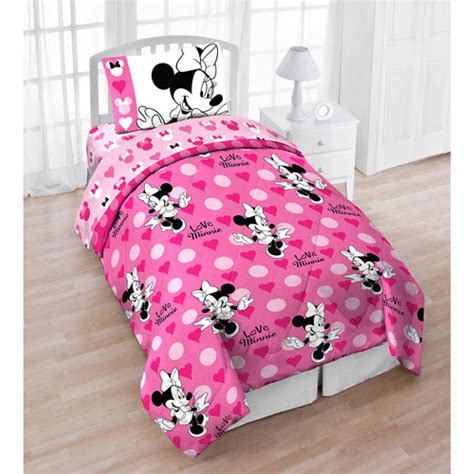 minnie mouse bedding 4pc disney minnie mouse love hearts dots twin bedding set