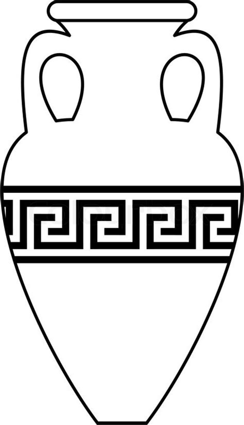 Greek Vases Designs White Silhouette Contour Of Ancient Amphora Vase With