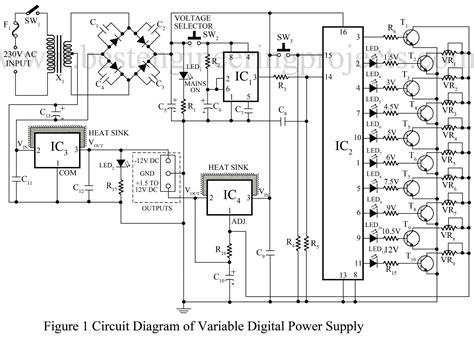circuit diagram of variable power supply power supply circuit electronics projects best