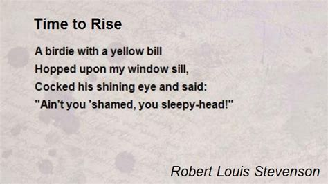 time to rise books time to rise poem by robert louis stevenson poem