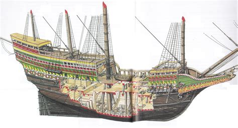 boat crew in spanish sailing ship cutaway revenge 1588 naval warfare 1200