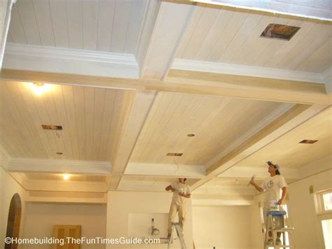 great room wood coffered ceiling the homebuilding