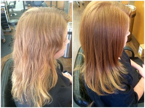 hair glaze color treatment pics before left faded and dull color after right