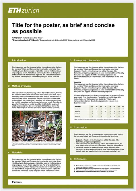 Research Poster Services Resources Eth Zurich Poster Presentation Template Portrait