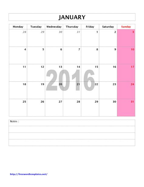 Free Printable Monthly 2016 Calendars No Download Calendar Template 2018 Free Templates 2016