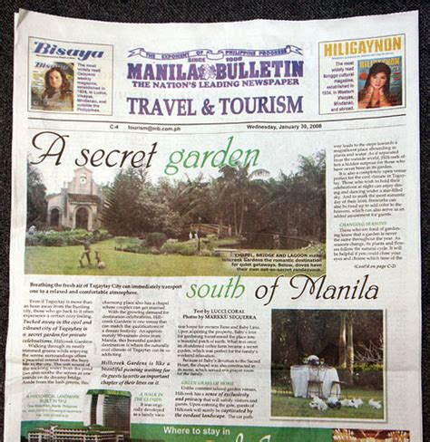 travel and tourism section in newspaper hillcreek gardens published rebelpixel com