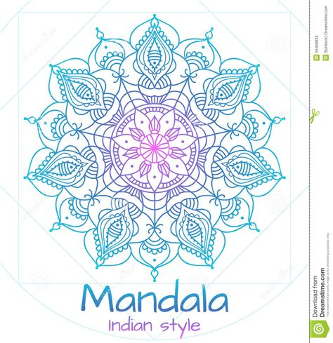 mandala thin line indian style stock vector image 55456834