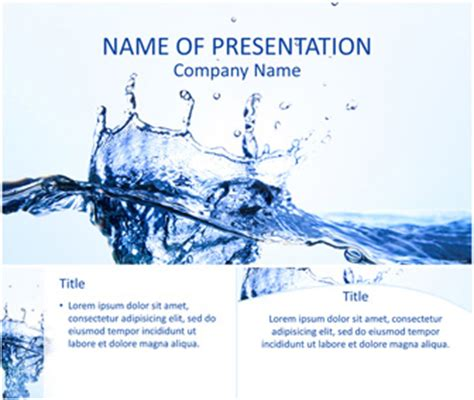 template ppt water free water splash powerpoint template templateswise com