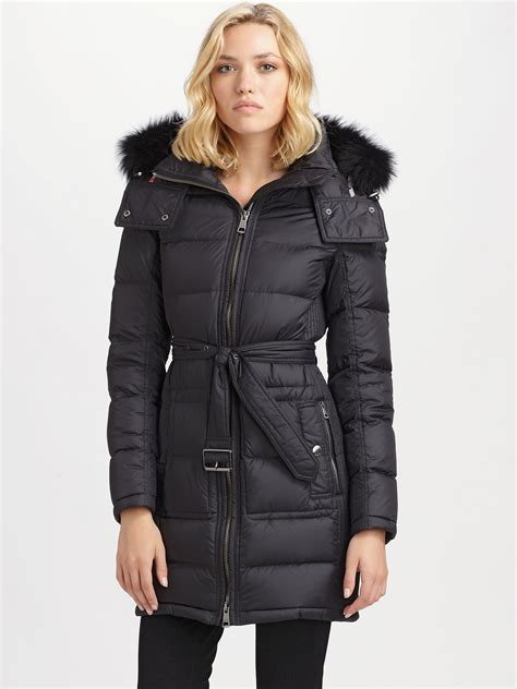 Lyst   Burberry Brit Fox Fur Trimmed Puffer Coat in Black