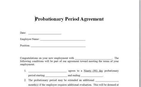 Probationary Period Template payroll controls and procedures vitalics