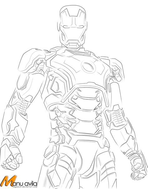iron man mark 7 coloring pages iron man mark 42 line art by tagadum on deviantart