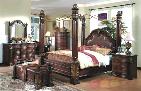 Queen Size Canopy Bedroom Set | king poster canopy bed marble top 5 piece bedroom set