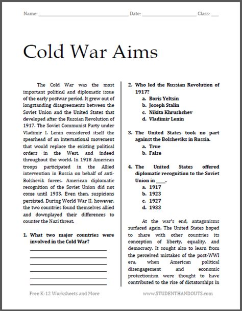 Searching For The Draft Of History Lessons About The War Of 1812 In Stacks Of Cold War Aims Free Printable Worksheet For High School American History Social Studies
