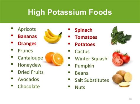 foods high in potassium for the kidney diet
